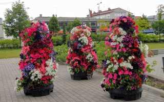 Вертикальные клумбы и цветники своими руками на фото: клумбы для петунии и других цветов